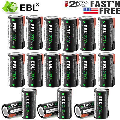 Lot Sub C SC Cell 2300mAh 1.2V NiCd Rechargeable Battery w/Tap For Power Tool