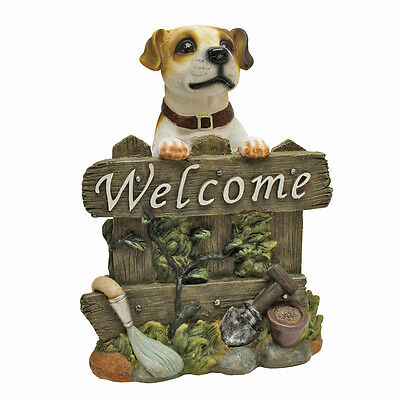 Jack Russell Terrier Welcome Sign Garden Puppy Outdoor Statue  , used for sale  Shipping to Canada