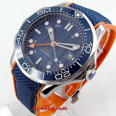 41mm bliger sterile navy blue dial GMT ceramic bezel automatic mens watch B246
