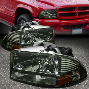 For 1997 2004 Dodge Dakota Durango Smoked Housing Amber Side Headlight Lamps Set