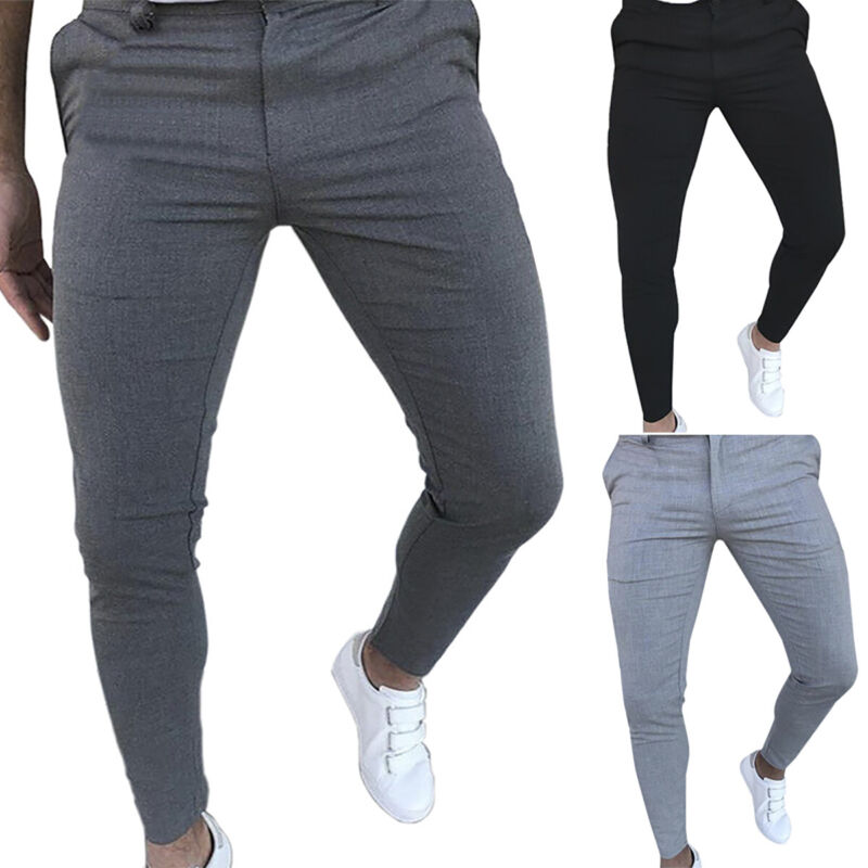 Mens Skinny Chino Slim Fit Pants Casual Formal Work Smart Dress Stretch Trousers