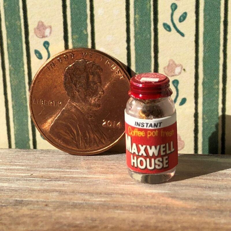Dollhouse miniature Beverage 1:12 Vintage label Jar of Instant Coffee Powder NEW