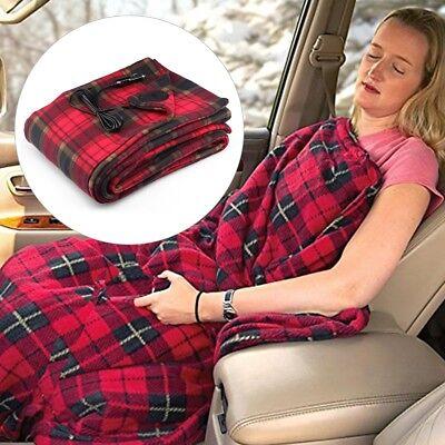 Car 12V Electric Heating Blanket with Premium Cigarette Lighter Plug for Camping