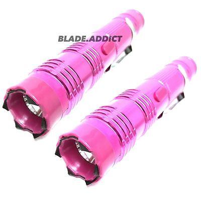 2PC Metal POLICE Stun Gun 260 Million Volt Rechargeable LED Flashlight - PINK