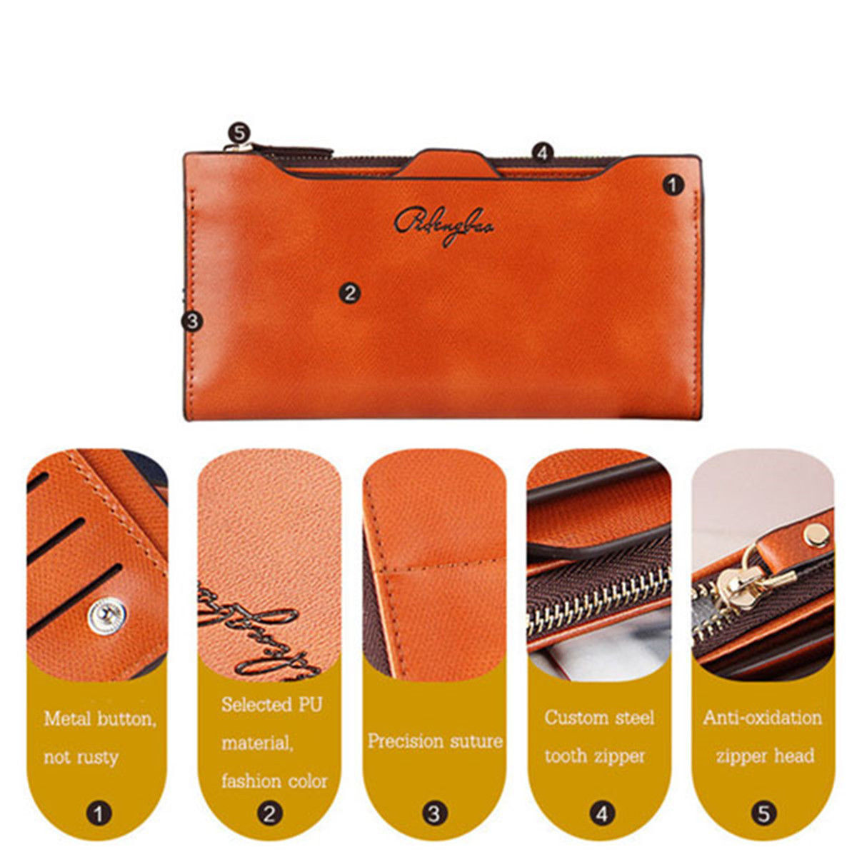 Women Long Leather Thin Wallet Cute Bow Purse Multi ID Credit Card Holder Gift Clothing, Shoes & Accessories