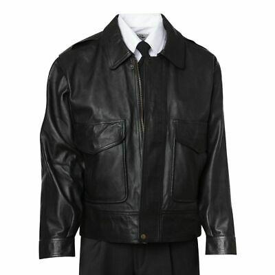 NEW Crew Outfitters Men's Wright Leather Jacket  / Coat Size 46L FREE SHIPPING