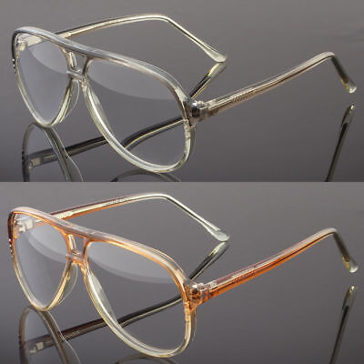 Large Aviator Full Reading Glasses Clear Lens Transparent Frame Retro (Clear Frame Readers)
