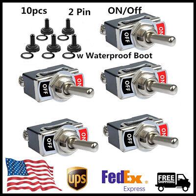10pc Heavy Duty Rocker Toggle Switch Spst 2 Pin Onoff Metal Bat Waterproof Boot