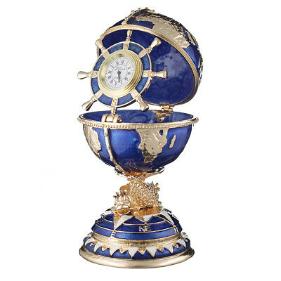 Russian Faberge Egg / trinket jewel box The Globe with clock 5.5'' (14 cm) blue for sale  Shipping to United States
