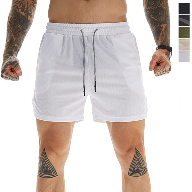 Men Workout Sport Shorts Athletic Quick Dry Elastic Waist Bottom With Towel Loop