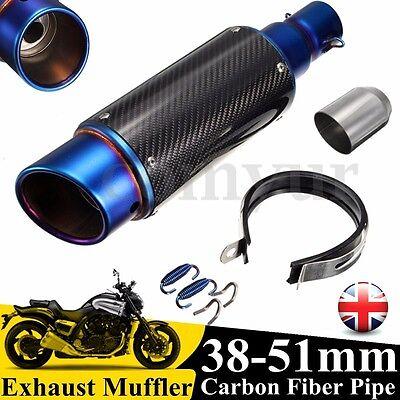38-51mm Motorcycle 380mm Carbon Fiber Exhaust Muffler Silencer Street Bike GP