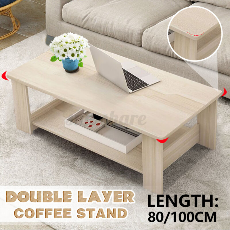 """39.4"""" Wooden Coffee Table Double Shelf Home Office Furniture Storage Living Room"""