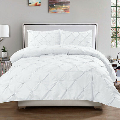 Luxury 3 Piece Pinch Pleat Pintuck Duvet Cover & Pillow Sham Set White Queen