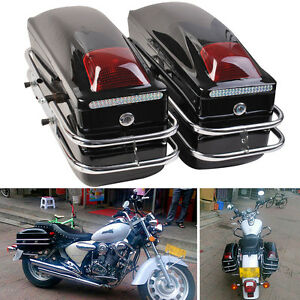 Universal Motorcycle Side Pannier Boxes Hard Saddle Bags Hard Case Rack Cruiser