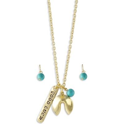 Fortune Cookie Necklace (NEW Good Luck Fortune Cookie Imitation Turquoise Dyed Howlite Pendant)