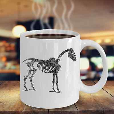 White Halloween Skeleton Horse Coffee Mug Equestrian Gift 11oz Dishwasher Safe ()