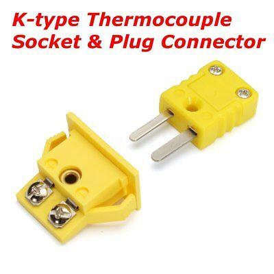 Yellow Plastic Shell K Type Panel Mount Thermocouple Socket Plug Connector Set