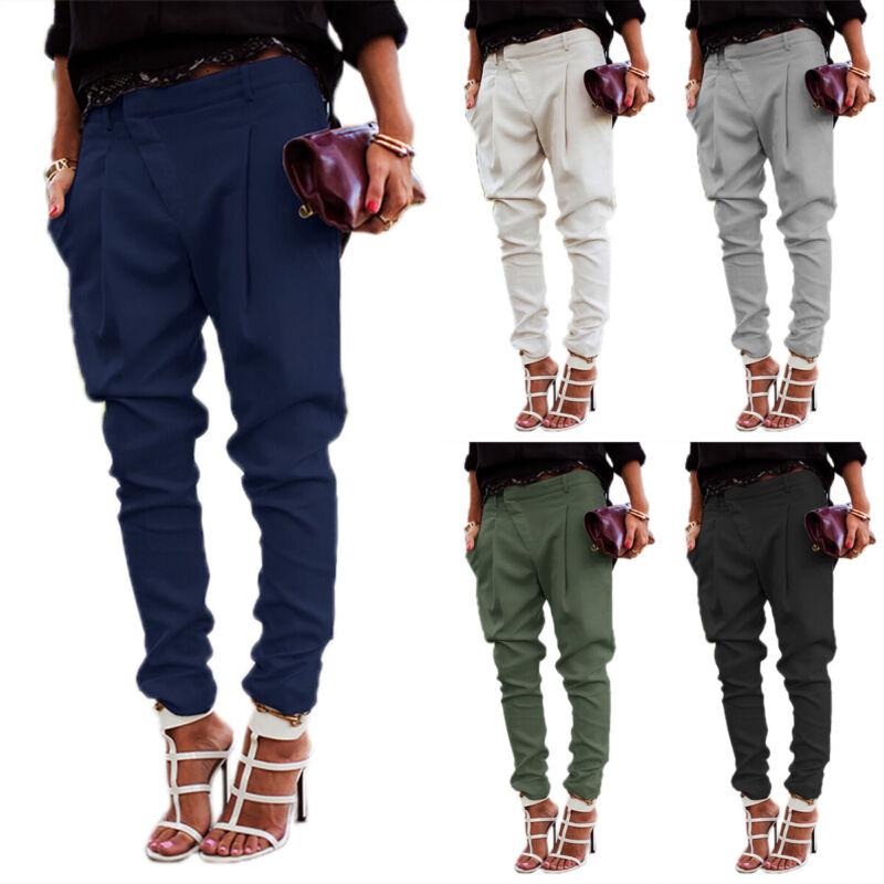 Women Ladies Harem Pants Loose Casual Cargo Joggers Plain Of