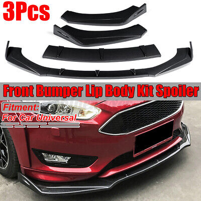 Carbon Fiber Look Front Bumper Lip Spoiler Chin Splitters For BMW Benz Audi Ford