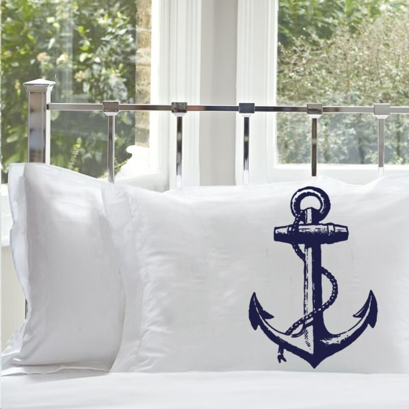 2 Two NAUTICAL Ship's Anchor PILLOWCASE cover