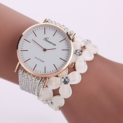 Fashion Women Crystal Diamond Bracelet Stainless Steel Genev