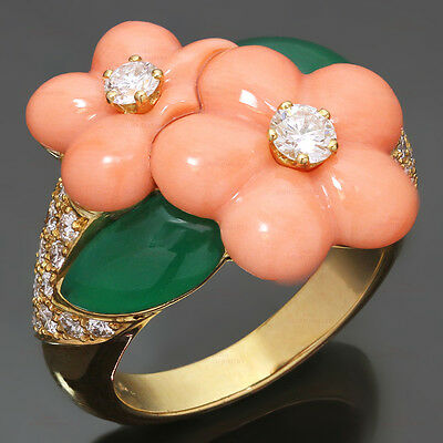 1990s VAN CLEEF & ARPELS Diamond Coral Chrisophrase Gold Flower Ring Size 52