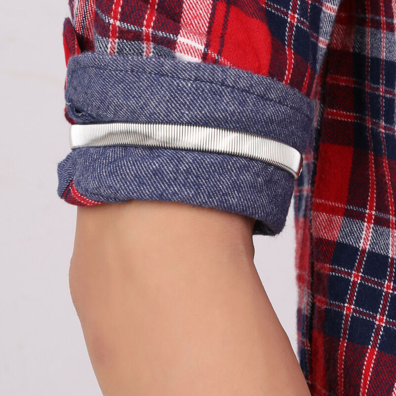 6 Mens Lady Anti-Slip Shirt Sleeve Holder Arm Bands Garter Elasticated Metal 7cm