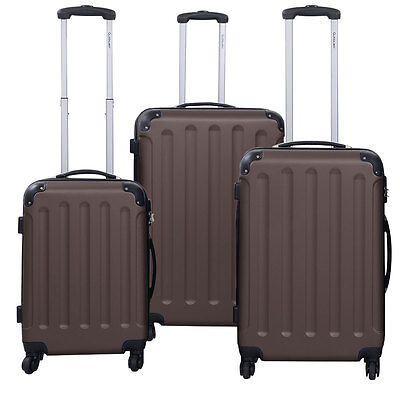 GLOBALWAY 3 Pcs Luggage Travel Set Bag ABS+PC Trolley Suitcase Brown
