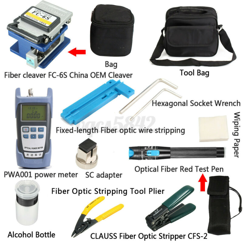Fiber Optic FTTH Tool Kit FC-6S Cutter Cleaver Optical Power Meter Visual