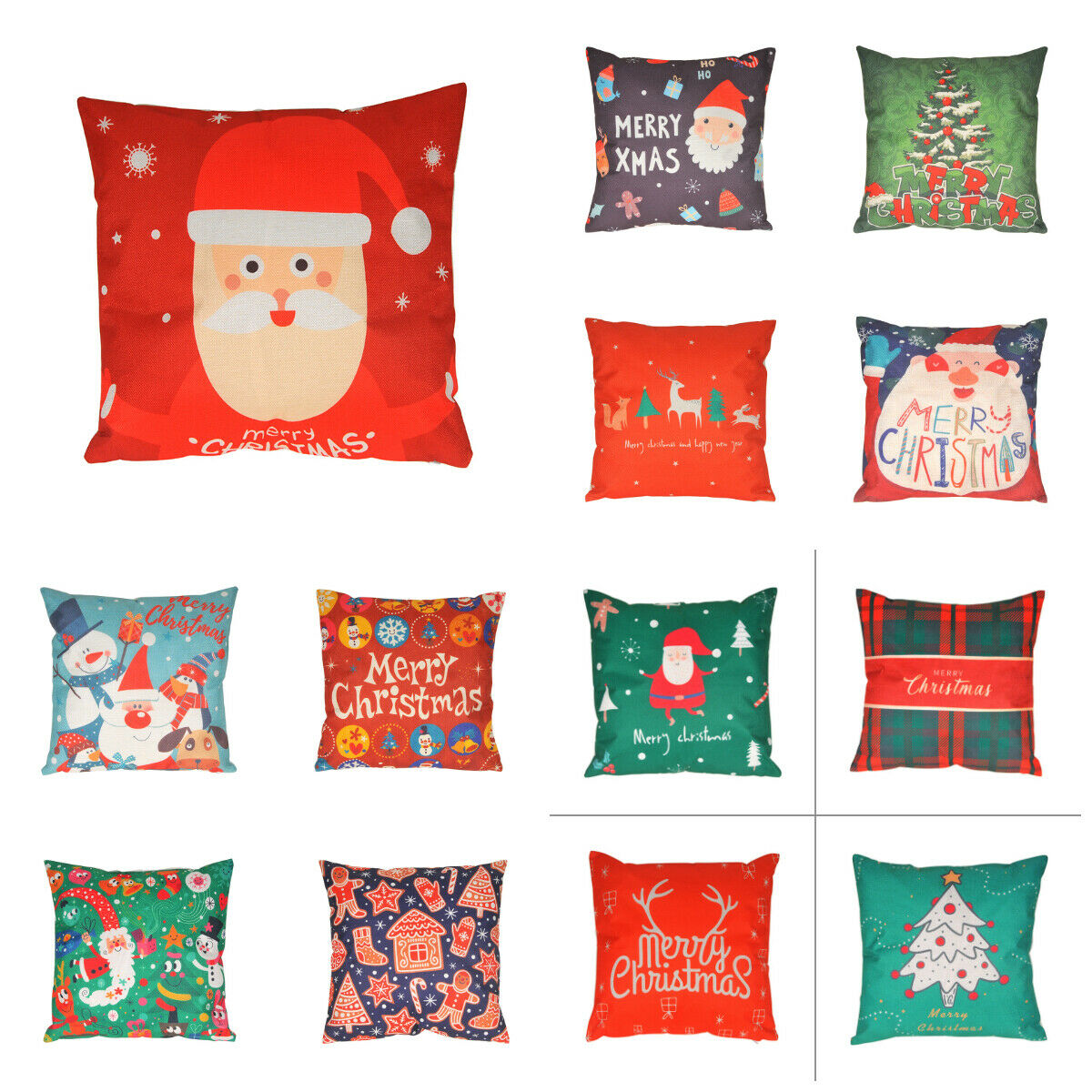 18'' Merry Christmas Xmas Throw Pillow Cushion Covers Santa