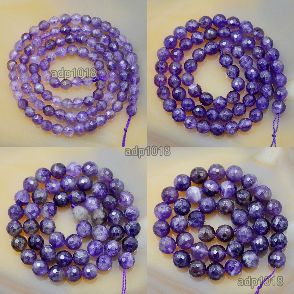 Natural Gemstones Faceted Round Spacer Loose Beads 155 4mm 6mm 8mm 10mm 12mm