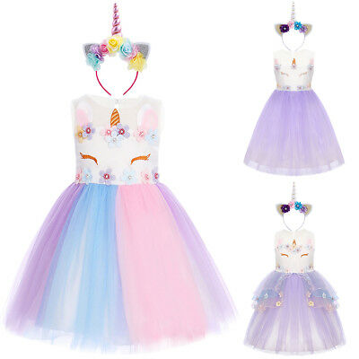 Unicorn Costume Princess Tutu Tulle Dress for Kids Flower Girl Birthday Party - Flower Costume For Kids