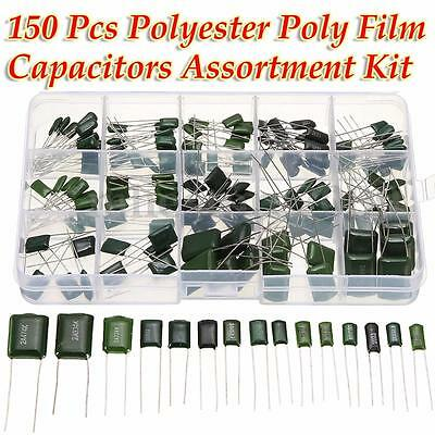 150pcs 15values Polyester Poly Film Capacitors Assortment With Box Kit 100v 5