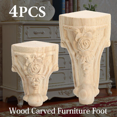 4X Solid Wood Carved European Style Furniture Foot Legs TV Cabinet Couch Useful