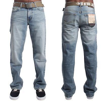 Mens FB Relaxed Fit Bootcut Fashion Jean FBM 15 - Light Blue Faded Denim  ()