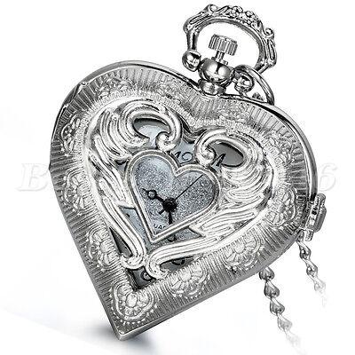 Damen Engelsflügel Love Herz Hollow Uhr Ketteuhr Quarz Taschenuhr Halskette (Taschenuhr Halskette Flügel)