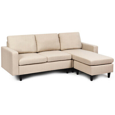Convertible Sectional Sofa Couch Fabric L-Shaped Couch w/Reversible Chaise Beige