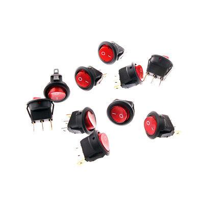 20pcs Red Light Illuminated On-off Spst Round Rocker Switch 6a250v 10a125v Ac