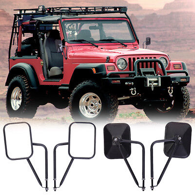 Side View Door Mirrors for Jeep Wrangler JK CJ YJ TJ 1997-16 Rectangular Mirrors