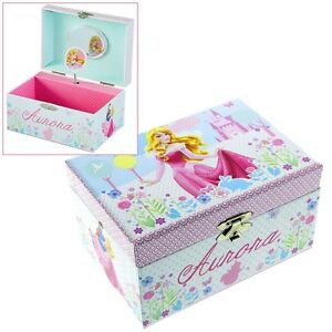 GIRLS CHILDRENS DISNEY PRINCESS SLEEPING BEAUTY MUSICAL JEWELLERY TRINKET BOX