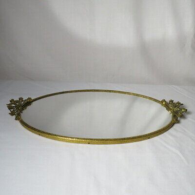 Vintage Gold Tone Floral Vanity Dresser Perfume Tray Oval MIRROR 17 x 8