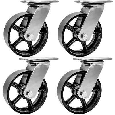 4 Pack 6 Vintage Caster Wheels Swivel Plate Black Iron Casters No Brake