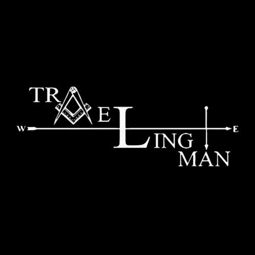 Traveling Man Square & Compass Masonic Vinyl Decal - White 6 Inch