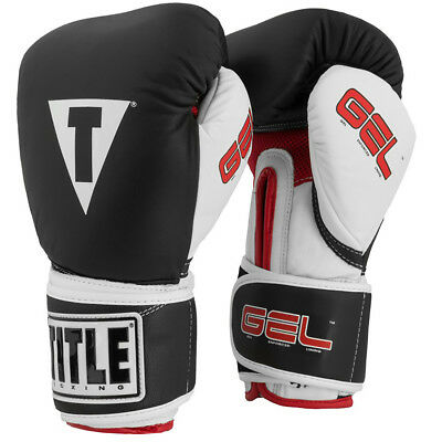 Title Boxing Gel Intense Hook and Loop Training Boxing Gloves - Black/White/Red