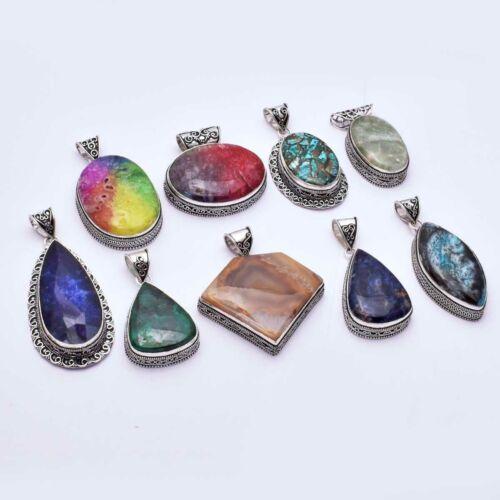 Multi Gemswtone 9 Pcs Wholesale Lot Jewelry Antique Design Pandant Lot-1539