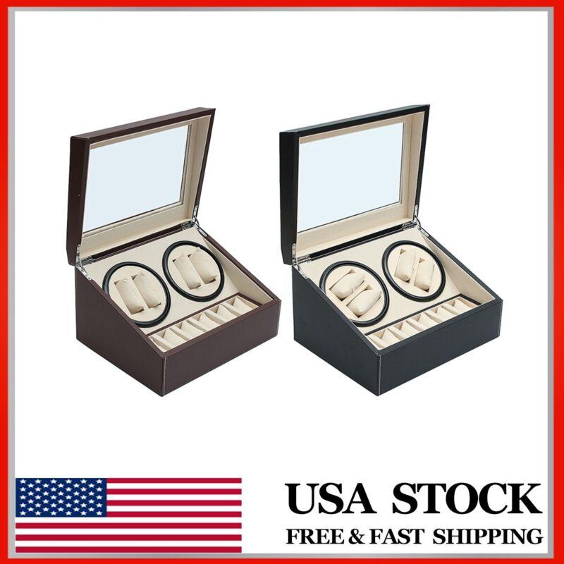 PU Leather Luxury Automatic Rotation 4+6 Watch Winder Storage Case Display