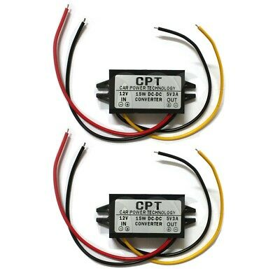 2 Pcs Waterproof Dc-dc Converter 12v Step Down To 5v Power Supply Module Black