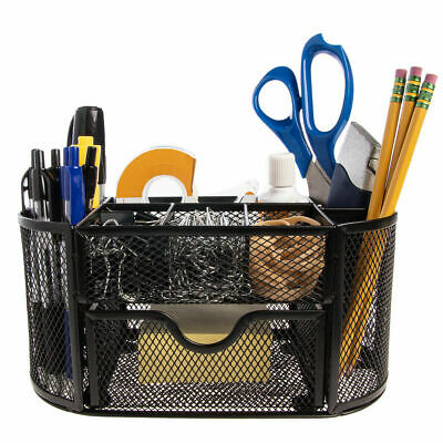 Office Supplies Accessories Organizer Black Computer Desk Pens Pencil Holder New