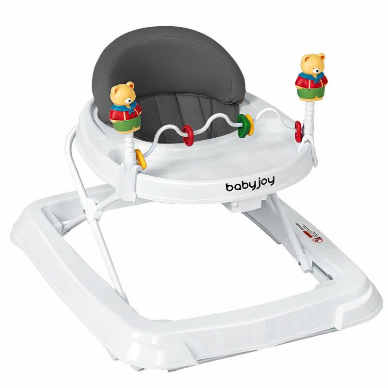 Gift Kids Learn Walk Cart Portable Baby Walker Training Adjustable Height Gray