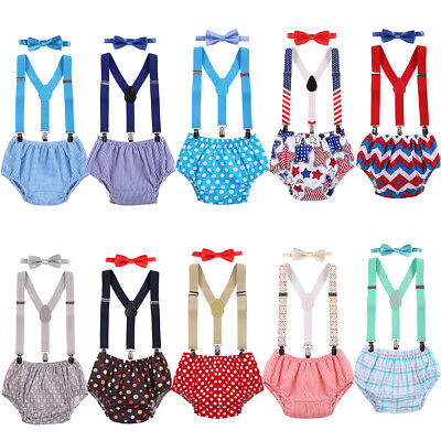 Baby Boys Cake Smash Outfit 1st First Birthday Bloomers Bowtie Suspenders Sets - First Birthday Boys
